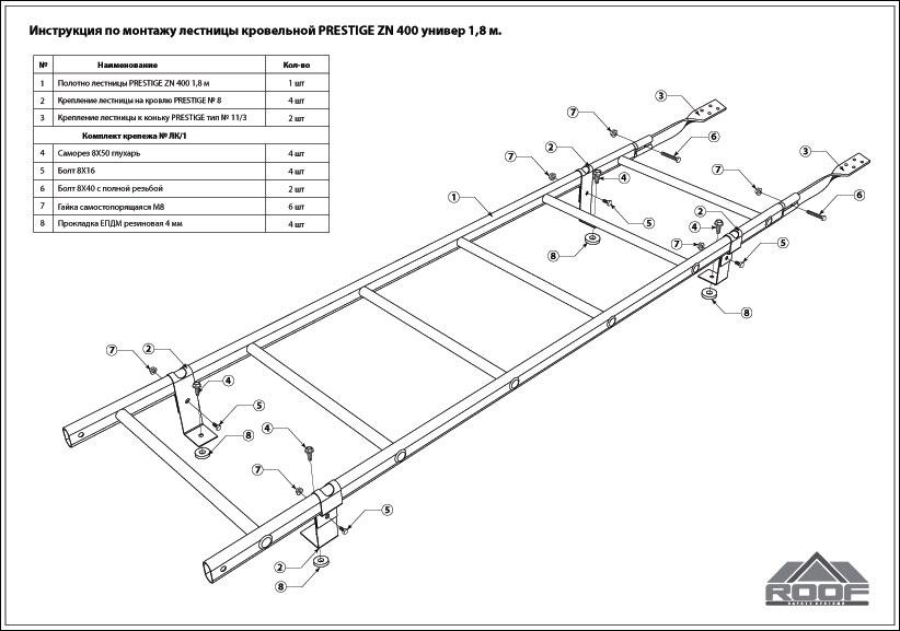 Схема кровельной лестницы