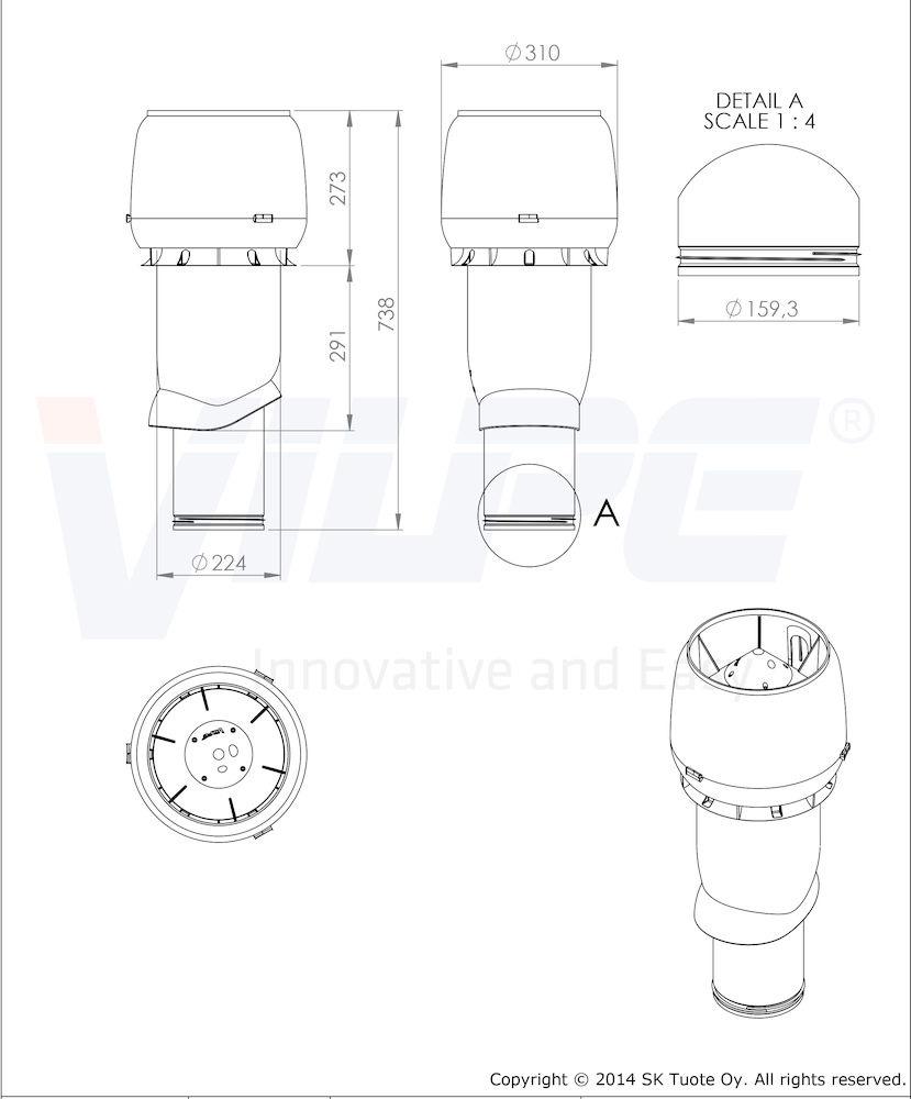 Вентиляционный выход 160/ИЗ/500 Vilpe