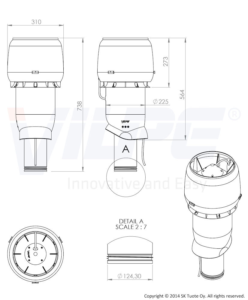 Вентилятор E190 Р/125/500 Vilpe