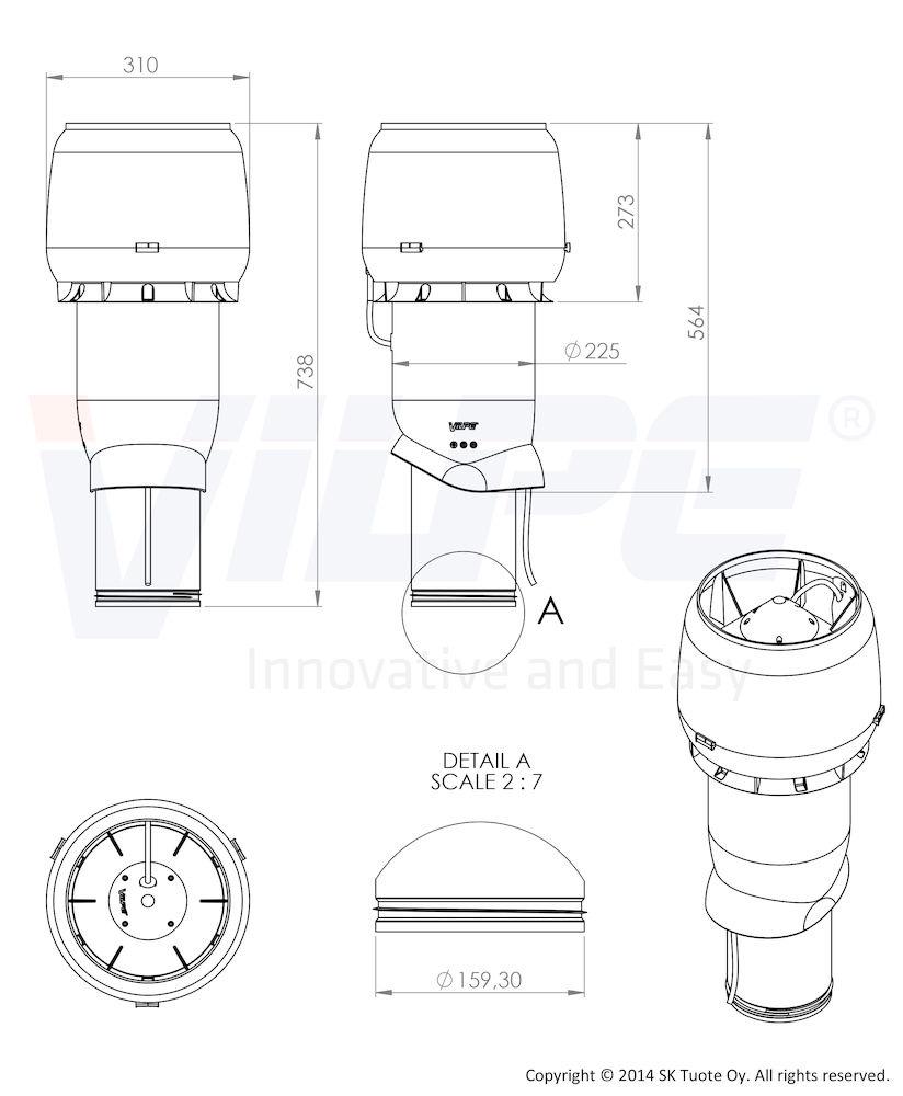 Вентилятор E220 Р/160/500 Vilpe