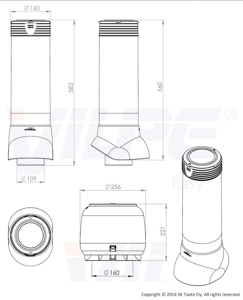 Вентиляционный выход 110/ИЗ/500 Vilpe