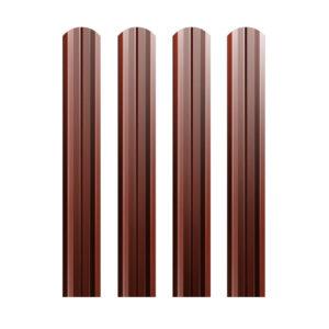 Металлический штакетник М-образный 74 мм коричневый