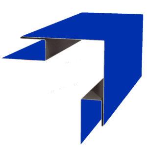 Планка угла наружного сложного 75х75х3000 Полиэстер синий 5005